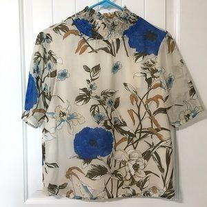 NWT Boutique Smock Neck Floral Blouse
